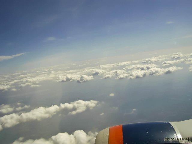Облака Из салона самолета S7